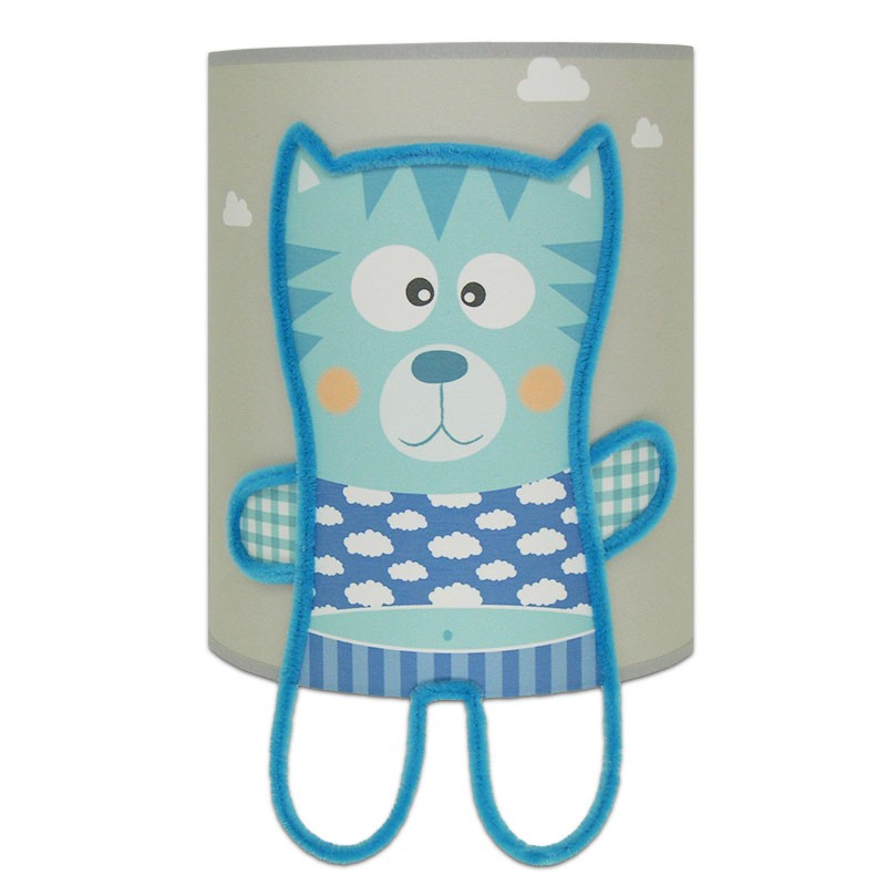 applique murale grise illustr e d 39 un petit chat bleu pour chambre b b gar on. Black Bedroom Furniture Sets. Home Design Ideas