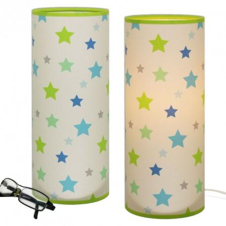 Lampe tube étoiles anis et bleu chambre bébé garçon