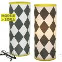 Lampe tube Sofia damier noir et blanc