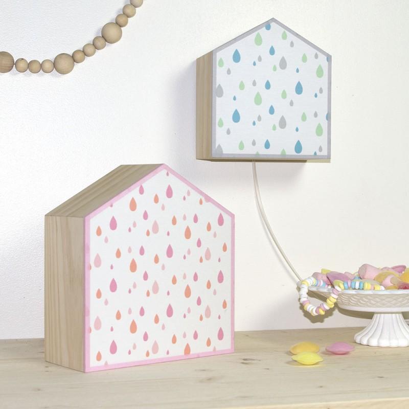 lampe en bois et tissu imprim effet goutte d 39 eau pour. Black Bedroom Furniture Sets. Home Design Ideas