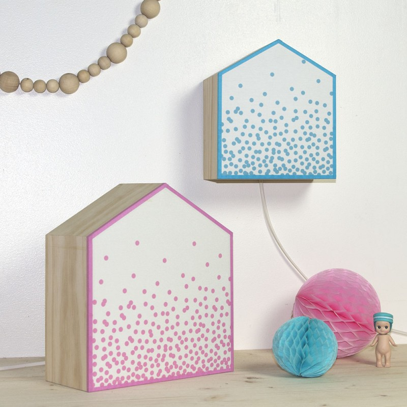 Lampe poser confettis rose ou bleu d coration enfant for Deco bleu et rose