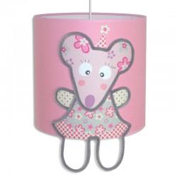 Luminaire rose personnalisé Emilie la petite souris