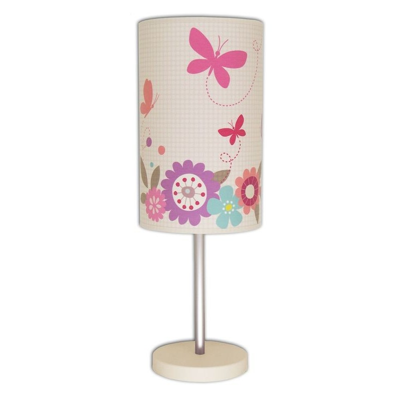 Lampe de chevet papillon rose et ivoire for Lampe de chevet tactile enfant