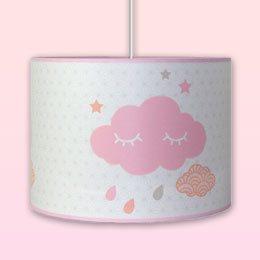 Luminaire fille suspension nuage rose