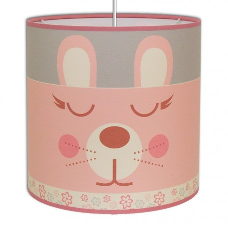 Suspension bébé Lapin rose et gris