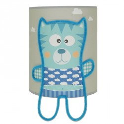 collection Mes Amis - applique grise et bleu chaton