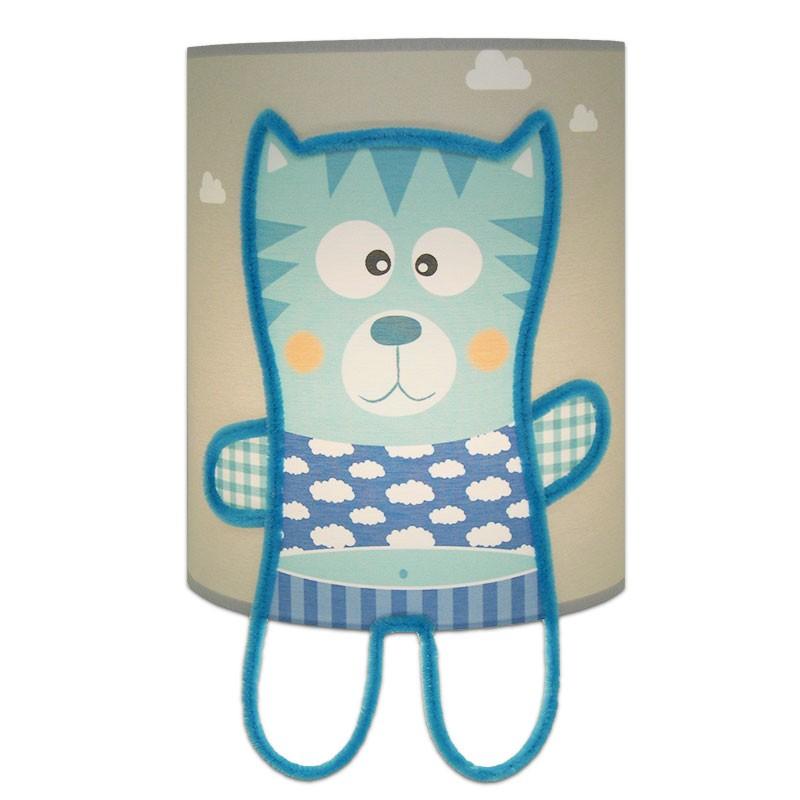 collection Mes Amis - applique grise et bleu chaton