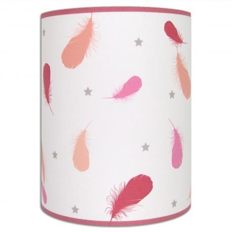 Applique murale fille plumes rose