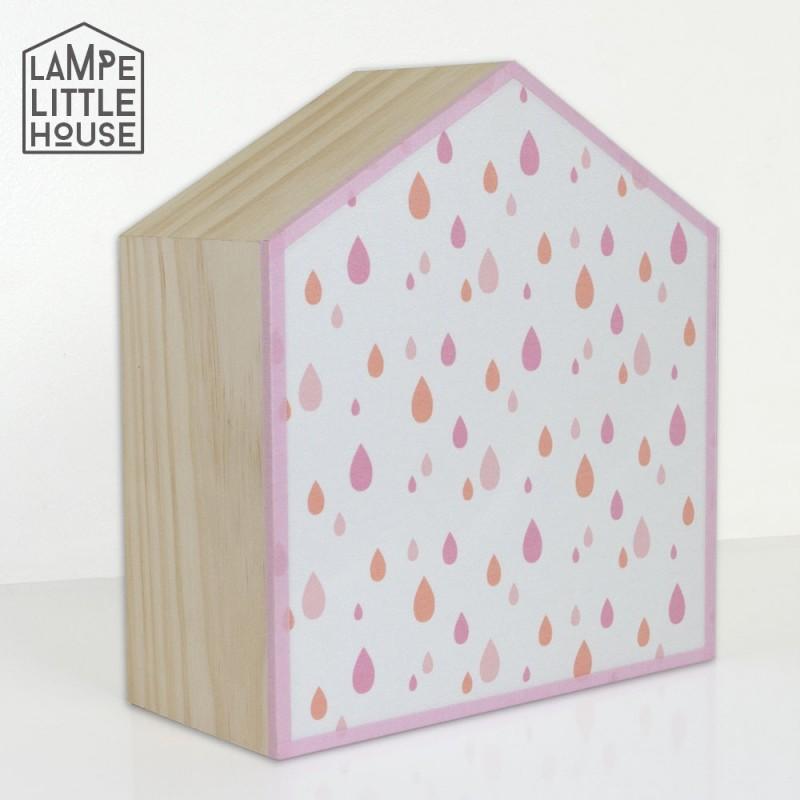 lampe en bois et tissu imprim effet goutte d 39 eau pour chambre b b. Black Bedroom Furniture Sets. Home Design Ideas
