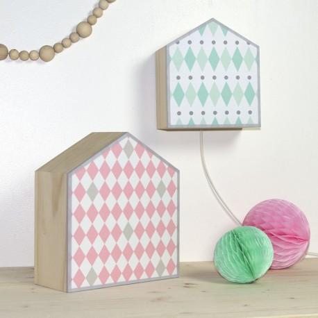 Lampes design losanges rose et vert menthe