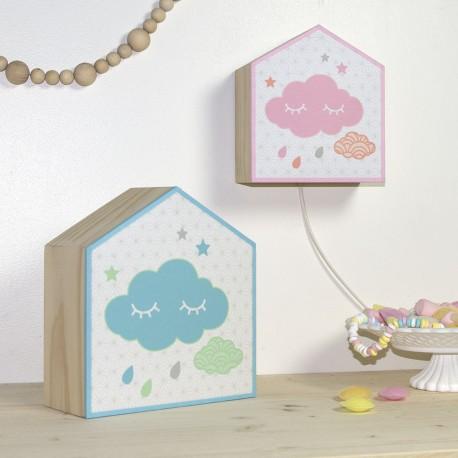 Lampes nuage design bleu et rose