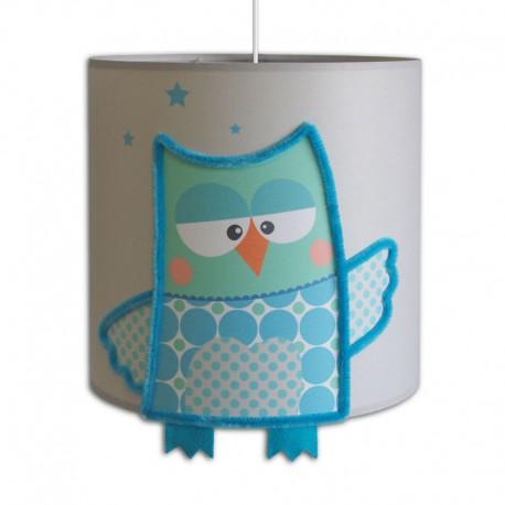 Luminaire hibou Suspension Loulou grise ou bleue